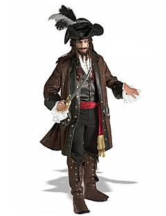 Cosplay Kostuums Feestkostuum Gemaskerd Bal Piraat Film cosplay Bruin Jas Hemd Broeken Riem Hoed Halloween Kerstmis Carnaval Nieuwjaar