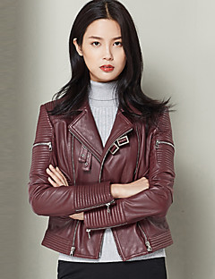 Women's Casual/Daily Vintage Leather Jackets,Solid Notch Lapel Long Sleeve Winter Red Others Medium