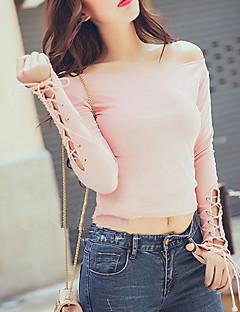 Feminino Camiseta Casual Simples Outono / Inverno,Sólido Rosa / Preto Algodão Decote Redondo Manga Longa Média
