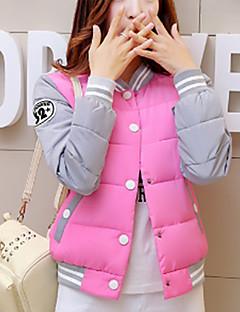 Damen Gefüttert Mantel,Standard Einfach Lässig/Alltäglich Solide-Polyester Polyester Langarm Rosa / Schwarz / Gelb Ständer