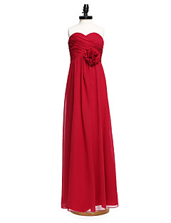 Lanting Bride Floor-length Chiffon Junior Bridesmaid Dress Sheath / Column Sweetheart with Flower(s)