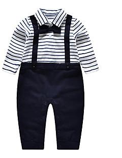 Baby Fritid/hverdag Tøysett Stripet-Bomull-Vår / Høst-Blå