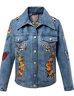 Damen Blumen / Stickerei Einfach Lässig/Alltäglich Jacke,Herbst Hemdkragen Langarm Blau Mittel Polyester