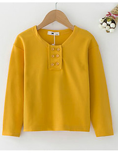 Girl's Casual/Daily Solid Hoodie & SweatshirtCotton Spring / Fall White / Yellow