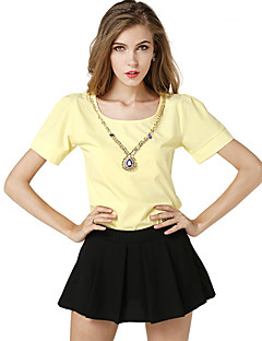 Women's Casual/Daily Cute Summer Blouse,Solid Round Neck Short Sleeve Pink / Yellow Polyester Medium