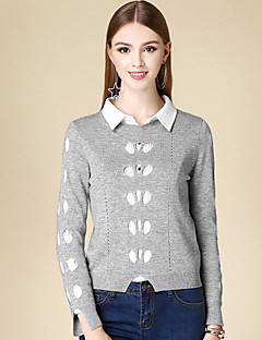Women's Casual/Daily Simple Short Pullover,Solid Gray Round Neck Long Sleeve Cotton Winter Medium Micro-elastic