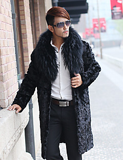 Men's Daily / Formal / Work Simple / Street chic Coat Solid Fur collar Long Sleeve Winter Faux Fur Black Thick