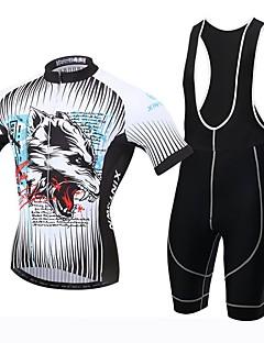 XINTOWN® חולצת ג'רסי וטייץ ביב לרכיבה לגברים שרוול קצר אופניים נושם / ייבוש מהיר / עמיד אולטרה סגול / 3D לוח / תומך זיעה חולצה+שורטס
