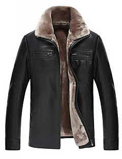 Men's Plus Size / Casual/Daily Simple Leather Jackets,Solid Long Sleeve Black / Brown Wool