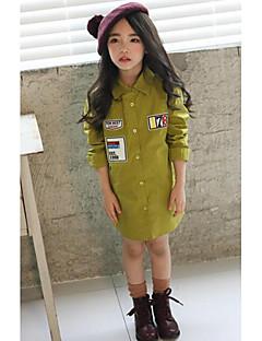 חולצה יום יומי\קז'ואל אחיד כותנה סתיו ירוק הילדה של