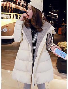 Manteau Doudoune Femme,Long simple Décontracté / Quotidien Couleur Pleine-Polyester Duvet de Canard Blanc Manches Longues Beige