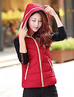 Damen Daunen Mantel Einfach Lässig/Alltäglich / Übergröße Solide-Polyester Weiße Entendaunen Ärmellos Blau / Rot / Schwarz / Gelb