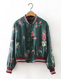 Høj krave Langærmet Medium Dame Sort Blomstret Efterår Sødt I-byen-tøj Jakke,Polyester