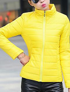 Casual/hétköznapi Egyszerű Kabát-Női Egyszínű Szokványos Kosaras Poliészter Poliészter Állógallér Hosszú ujj Piros / Zöld