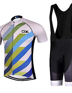 ספורטיבי חולצת ג'רסי ומכנס קצר ביב לרכיבה לגברים שרוול קצר אופנייםנושם / ייבוש מהיר / עיצוב אנטומי / עמיד אולטרה סגול / רוכסן קדמי / כיס