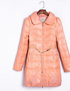 ארוך מעיל פוך מעיל נשים,אחיד סגנון רחוב יום יומי\קז'ואל ניילון נוצות ברווז לבנות-שרוול ארוך צווארון מרובע ורוד / אדום / שחור