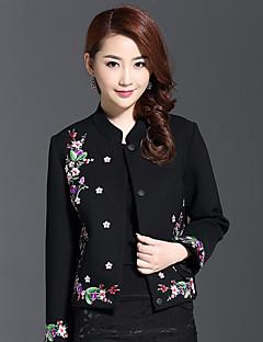 רקמה צווארון עגול קצר סגנון סיני יום יומי\קז'ואל ז'קט נשים,שחור שרוול ארוך סתיו חורף כותנה פוליאסטר
