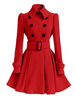 אחיד צווארון חולצה פשוטה / סגנון רחוב יום יומי\קז'ואל מעיל נשים,ורוד / אדום / לבן / שחור / אפור / ירוק / צהוב שרוול ארוך אביב / חורף