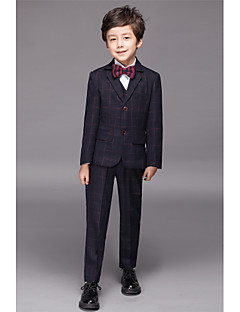 Cotton / Polyester / Serge / Polester/Cotton Blend Ring Bearer Suit - Five-piece Suit Pieces Includes Jacket / Shirt / Vest / Pants / Bow
