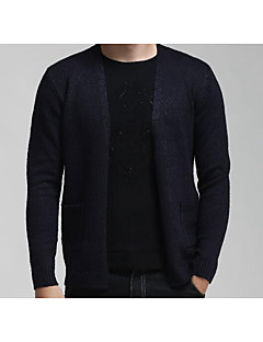 Men's Casual/Daily Simple Long Cardigan,Solid Black Stand Long Sleeve Cotton Fall / Winter Medium Micro-elastic