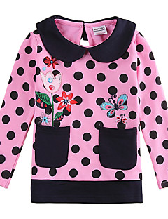 Kids T shirt Long Sleeve Beautiful Flower Embroidery Children Girl Tees (Random Printed)
