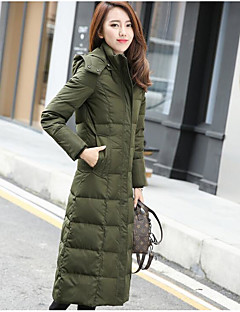 Women's Long Down Coat,Street chic Casual/Daily Solid-Polyester White Duck Down Long Sleeve Stand Red / Black / Gray / Green