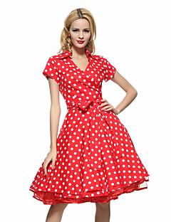 婦人向け ヴィンテージ フォーマル / ワーク / プラスサイズ スウィング ドレス,水玉 シャツカラー 膝丈 半袖 ブルー / ピンク / レッド / ホワイト / ブラック / ブラウン コットン オールシーズン