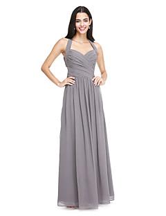 2017 Lanting bride® podlahy Délka šifónové družička elegantní šaty - a-linie ohlávka s bočním zavěšovat