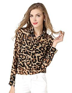 Women's Casual/Daily Boho Spring / Fall Shirt,Animal Print Standing Collar Long Sleeve Yellow Others Medium