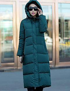 Women's Long Padded Coat,Vintage / Street chic / Sophisticated Plus Size / Casual/Daily Solid-Spandex Polypropylene Long Sleeve HoodedRed