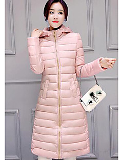 Women's Long Padded Coat,Simple Casual/Daily Solid-Polyester Polypropylene Long Sleeve Pink / Black / Gray / Green