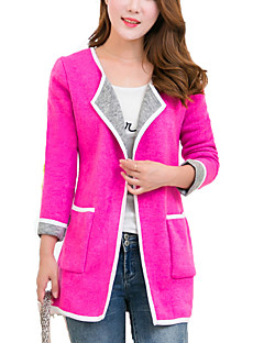 Women's Going out / Casual/Daily Punk & Gothic / Sophisticated Long Cardigan,Solid Pink / Red / Gray Notch Lapel Long SleeveCotton /