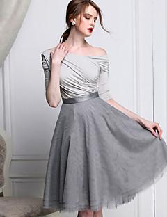 A-linje Gynge Nederdele-Dame Ensfarvet Net Lag-på-lag-Enkel Vintage Højtaljede I-byen-tøj Knælængde Lynlås Polyester UelastiskFjeder