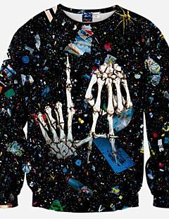 Для мужчин На каждый день Активный Простое Богемный Толстовка 3D-печати Круглый вырез Слабоэластичная Полиэстер Длинный рукав Осень зима