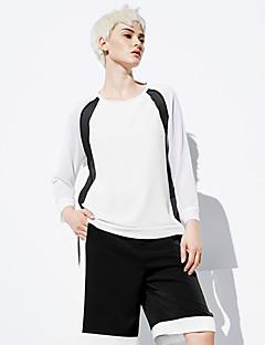 여성 컬러 블럭 라운드 넥 긴 소매 티셔츠,심플 데이트 / 캐쥬얼/데일리 화이트 폴리에스테르 봄 / 가을 중간
