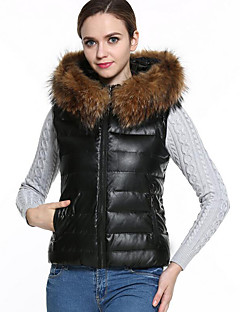 Women's Regular Padded Coat,Simple Plus Size / Casual/Daily Solid-PU Polypropylene Sleeveless Hooded Black