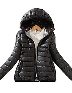 Damen Gefüttert Mantel,Standard Einfach Lässig/Alltäglich Solide-Polyester Polyester Langarm Blau / Weiß / Gelb Mit Kapuze