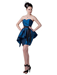 Short / Mini Taffeta Color Block Bridesmaid Dress - Sheath / Column Sweetheart with Sash / Ribbon