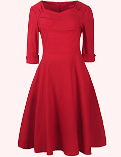 Women's Deep V ½ Length Sleeve Solid Big Swing Dress