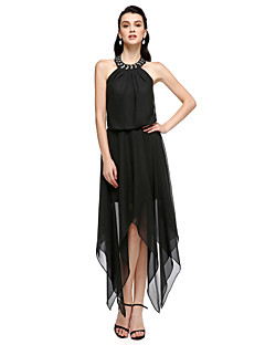 Cocktail Party Dress Sheath / Column Jewel Tea-length Chiffon with Crystal Detailing