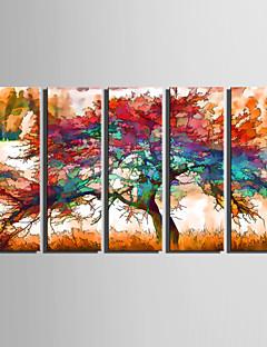 Landschap / Botanisch Canvas Afdrukken Vijf panelen Klaar te hangen , Verticaal