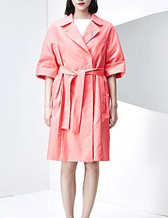 Casual/hétköznapi Egyszerű Őszi / Téli-Női Ballonkabát,Egyszínű Hasított rever ¾-es ujjú Rózsaszín Pamut / Poliészter Közepes vastagságú