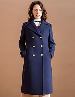 Damen Solide Einfach Ausgehen Mantel,Winter Gekerbtes Revers Langarm Blau Mittel Acryl / Polyester