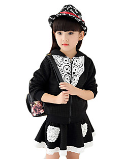 Girl's Going out Solid Skirt,Cotton Spring / Fall Black / Pink / Red