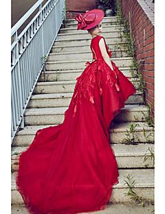 Plesové šaty Super extra dlouhá vlečka Šaty pro květinovou družičku - Tyl Bez rukávů Kopeček s Peří / kožešiny / Krajka / Perličky