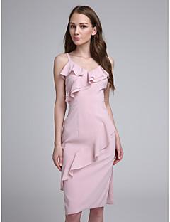 2017 לנטינג bride® באורך ברך שיפון שמלת השושבינה אלגנטית - רצועות ספגטי עם קפלים