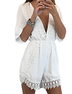 Women's Solid White / Black / Green Jumpsuits,Sexy V Neck ½ Length Sleeve