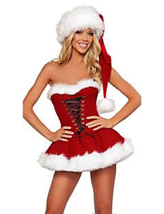 Classical Women Strapless Sexy Christmas Costumes Adult Women Santa Claus Costumes For Holiday Party Dress