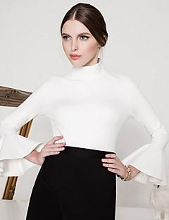 Dames Vintage Herfst / Winter T-shirt,Uitgaan Effen Coltrui Lange mouw Rood / Wit / Zwart Nylon Ondoorzichtig