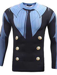 Masculino Blazer Casual Simples Outono / Inverno,Estampado Colorido Poliéster Decote Redondo Manga Longa Média